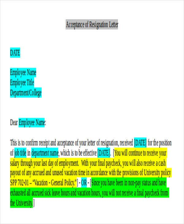 employee resignation acceptance letter format
