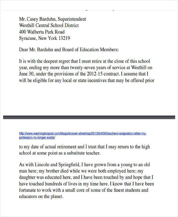 Sample Of Preschool Teacher Resignation Letter