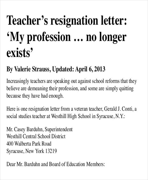 resignation sample for teacher with reason