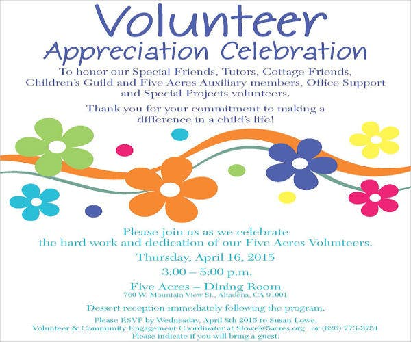 Volunteer Appreciation Invitation Template | Infoinvitation.co