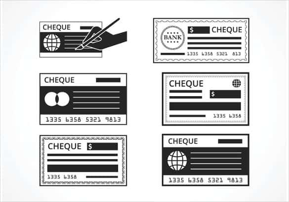 free black blank check vector set min