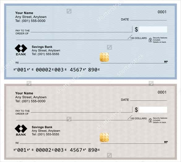 blank bank checks isolated on white background min