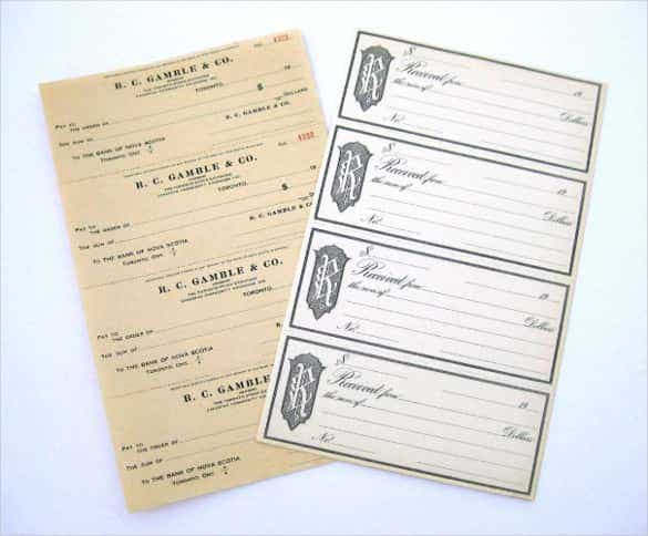 vintage blank bank checks and receipt min