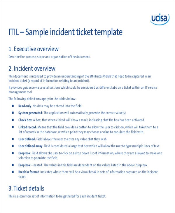 it service ticket template