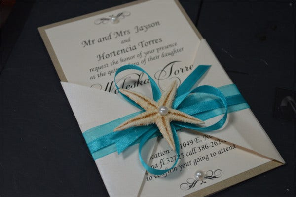 Handmade Beach Wedding Invitations