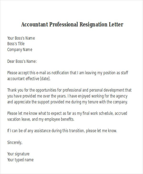 resignation letter format for accountant 38 resignation letter format free amp premium templates 13301