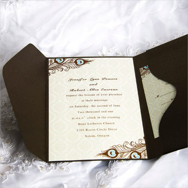Peacock Pocket Wedding Invitations