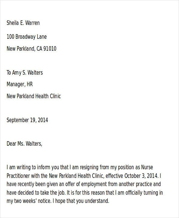 sample resignation letter nurse practitioner