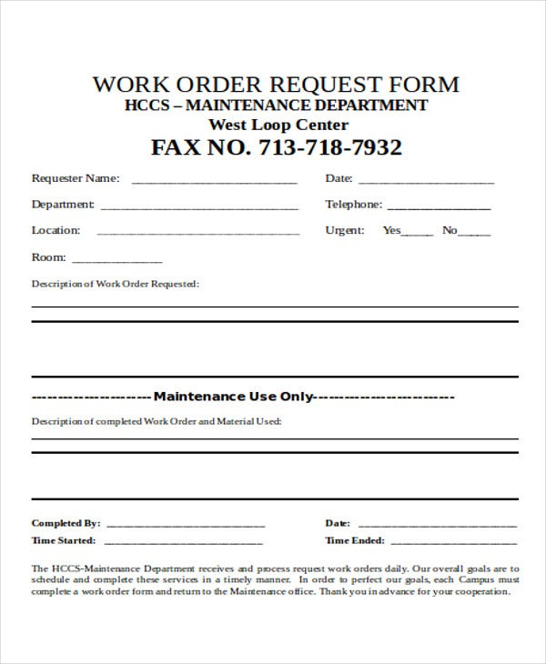 service work ticket template