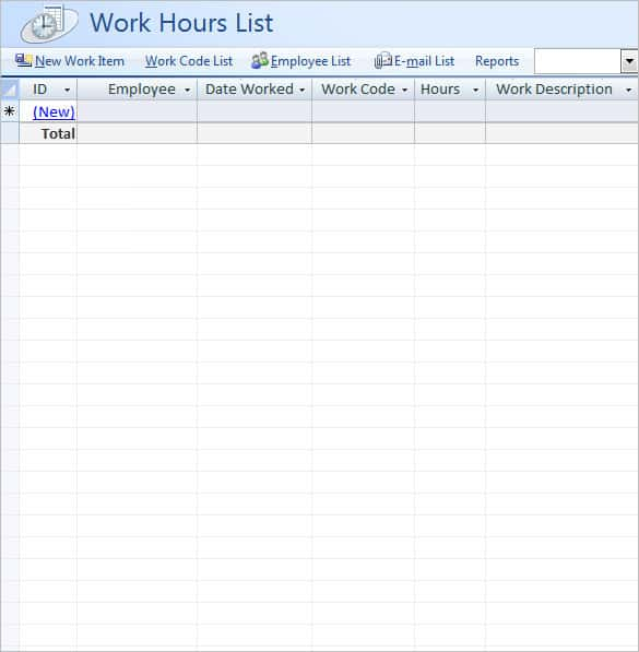 ms access desktop timescard template min