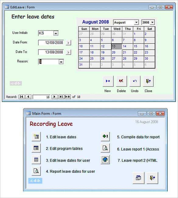 access database staff leave planner template min