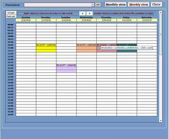 simple ms access appointment planner template