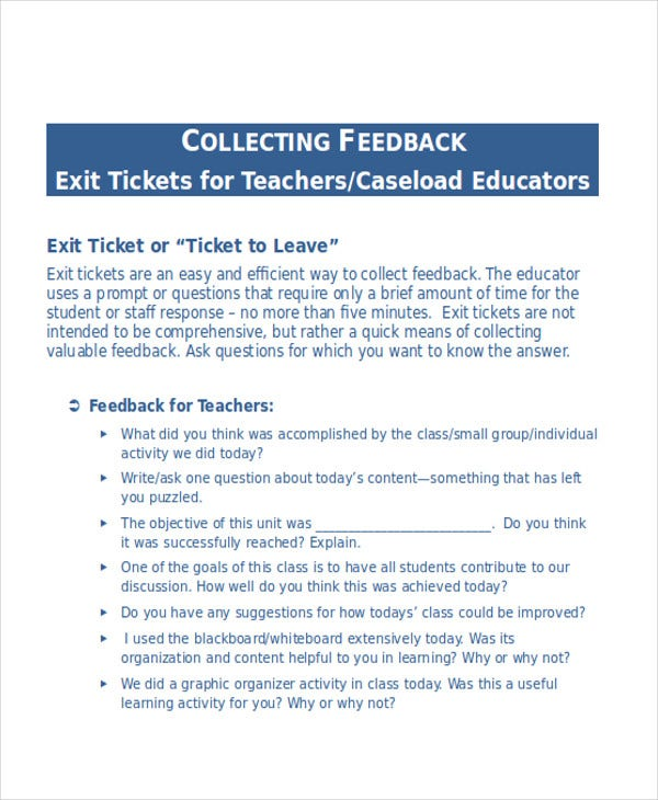teacher exit ticket template