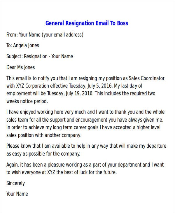 resignation letter email to boss