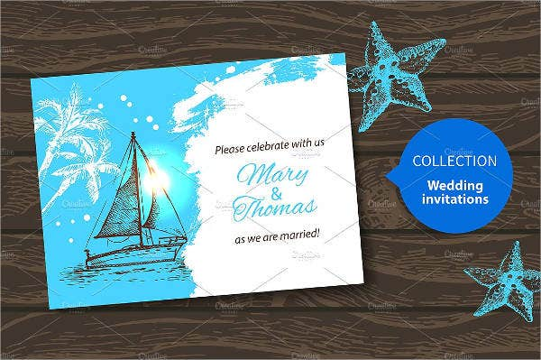 retro beach wedding invitations1