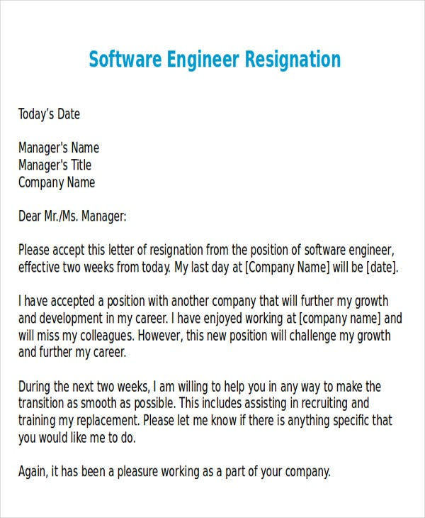 resignation letter format for software developer 43 sample resignation letter templates free amp premium 14400