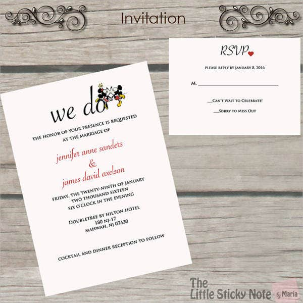 retro disney wedding invitations1