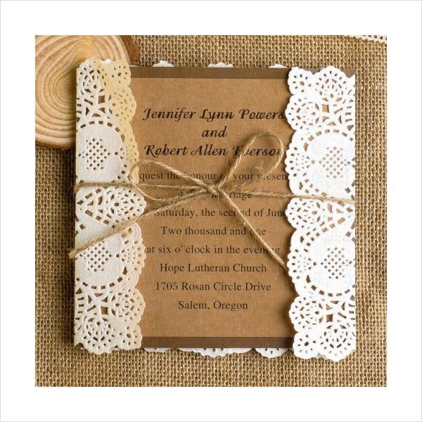Folded Lace Wedding Invitations