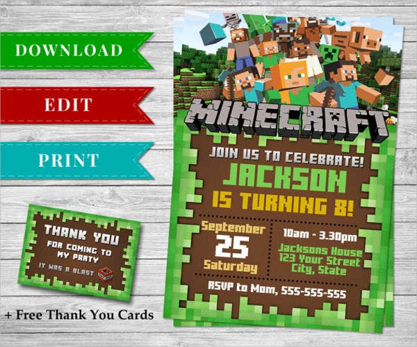 Minecraft Birthday Invitation Printable