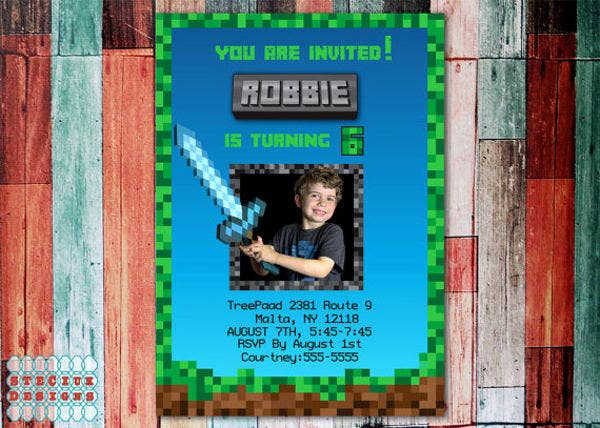 minecraft-photo-birthday-invitation