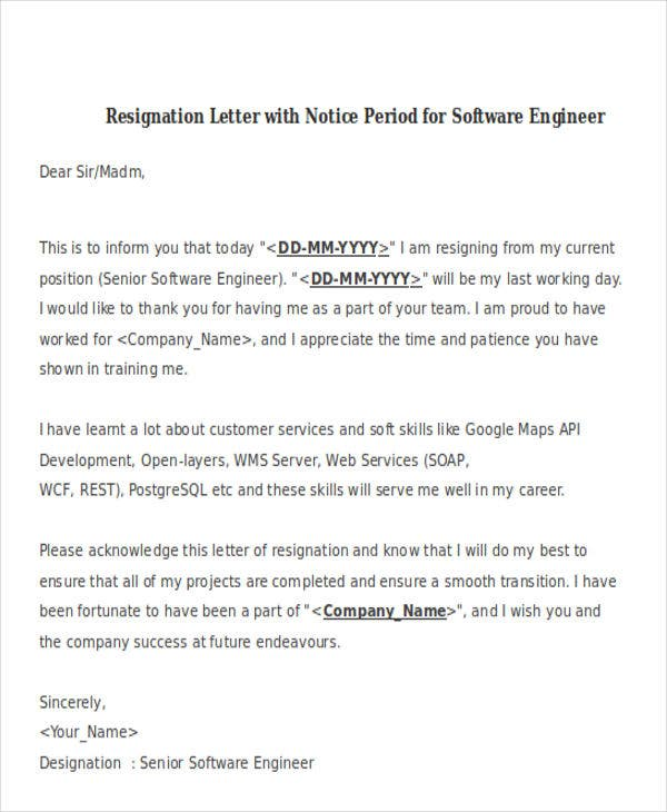 resignation letter format with notice period for software engineer