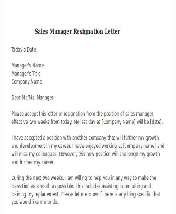 38 Resignation Letters Format – Sales Resignation Letter