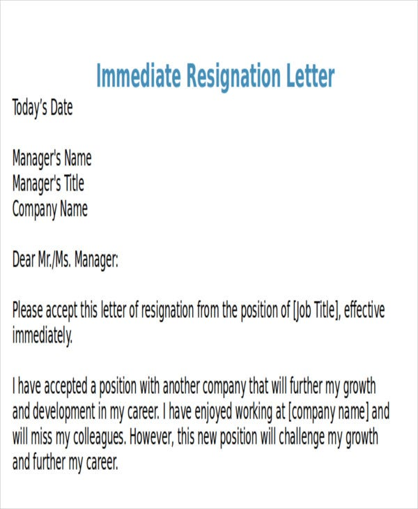 resignation letter for part time job