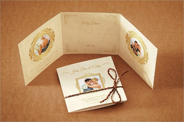 Tri Fold Photo Wedding Invitations