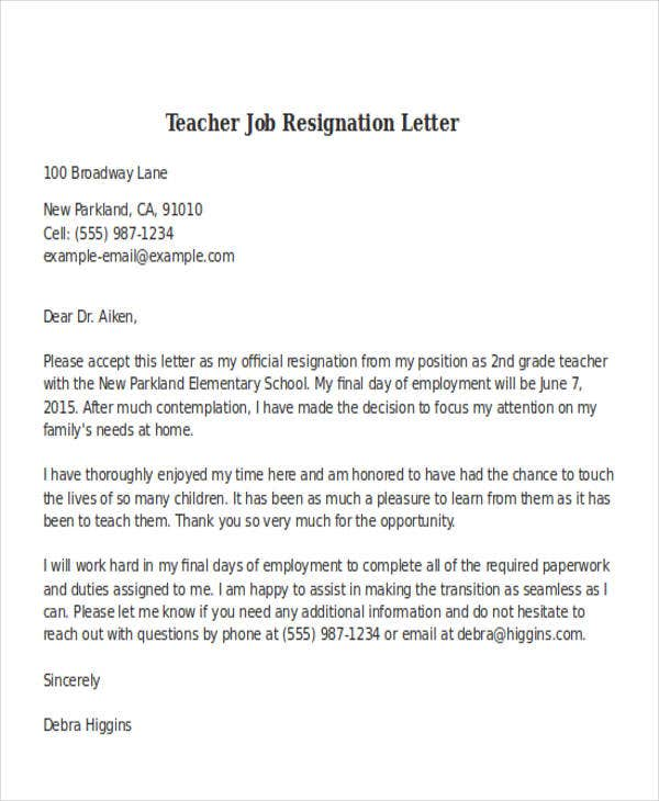Wonderful Teacher Job Resignation Letter Format