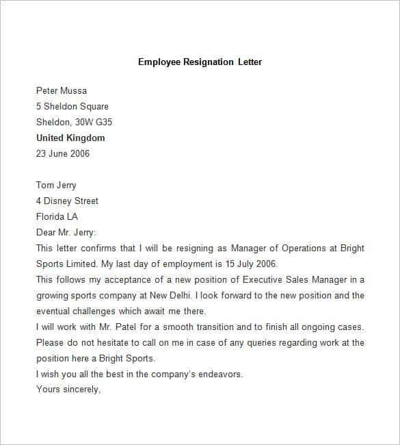 Resignation Letter Sample Free