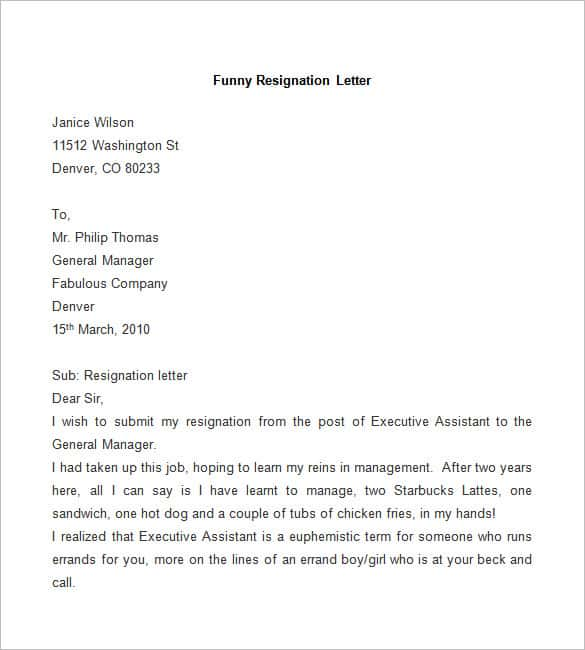 sample funny resignation letter details file format