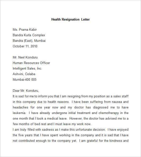 sample health resignation letter free download