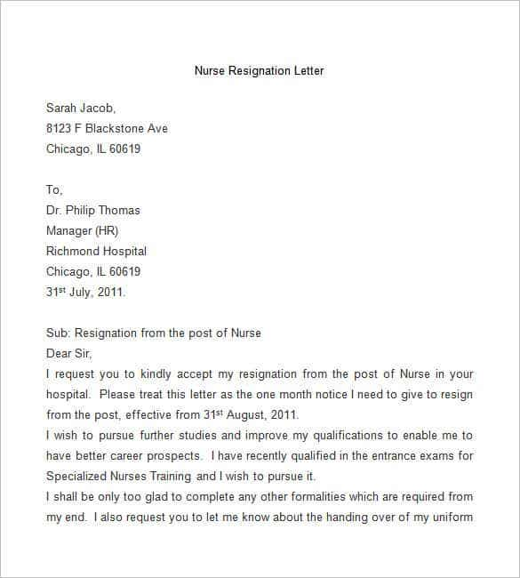 Sample Manager Resignation Letters  Template