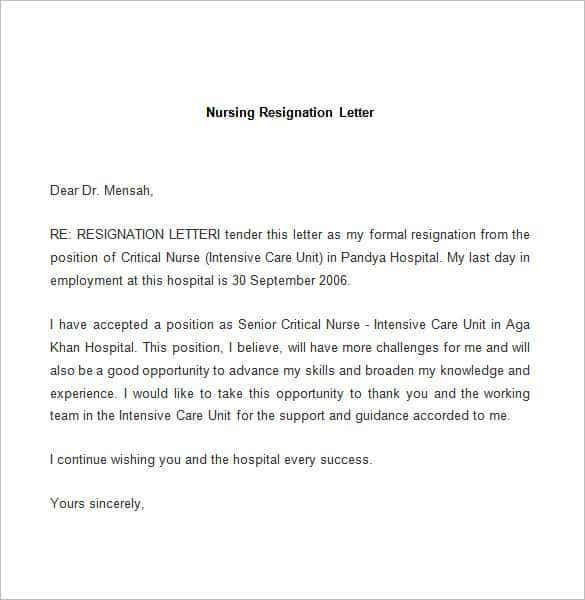 letter of resignation template word