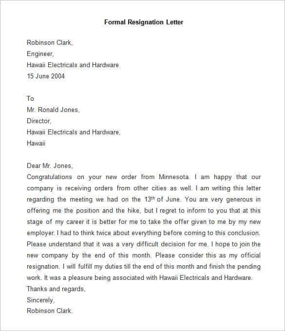 Sample Of Formal Resignation Letter