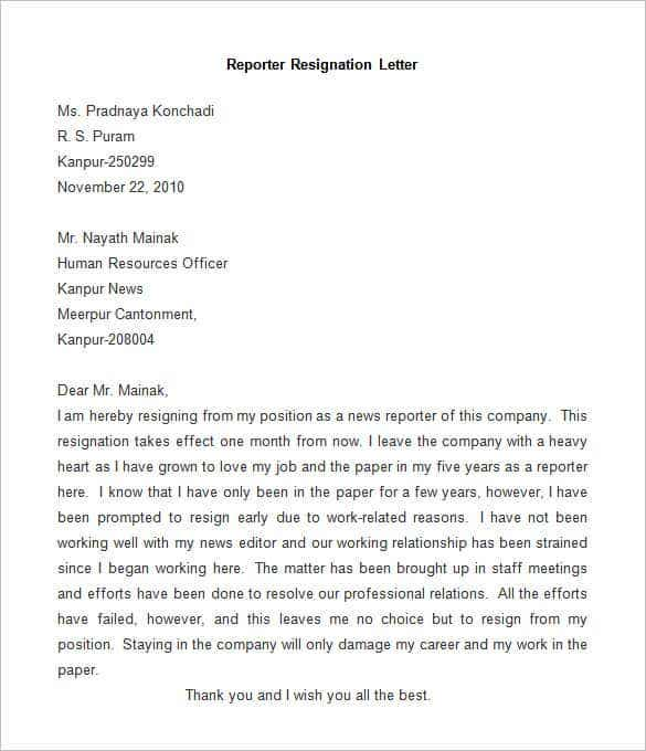Do Letter Format In Hindi. Sample Reporter Resignation Letter 31  Template Word PDF IPages Free