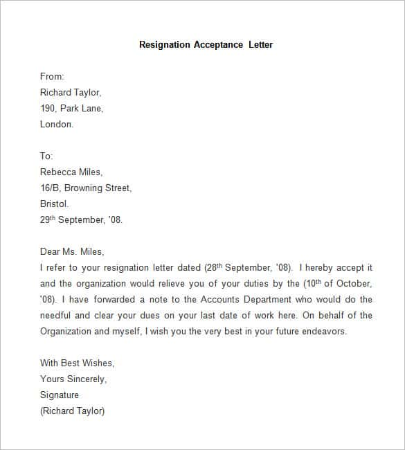 Sample Resignation Acceptance Letter