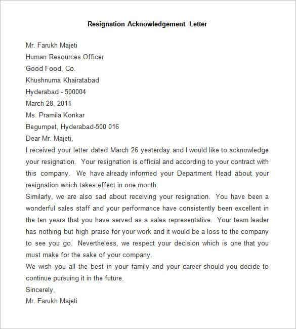 sample resignation acknowledgement letter. Resume Example. Resume CV Cover Letter