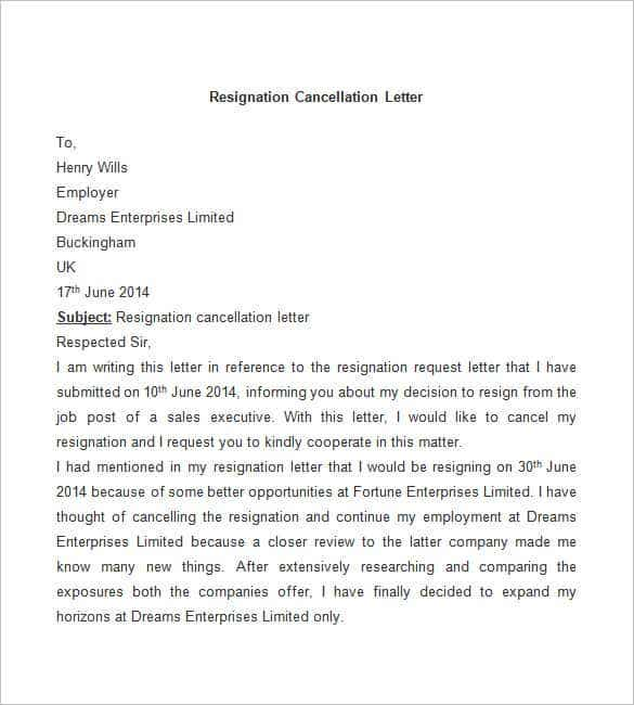 sample resignation cancellation letter free download - Resignation Letter Templates Free