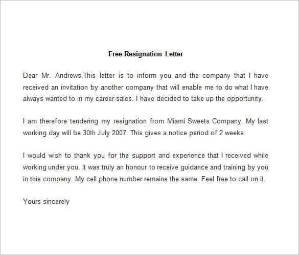 Sample Resignation Letter Sample Resignation Letter Template Word – Resignation Letter Free