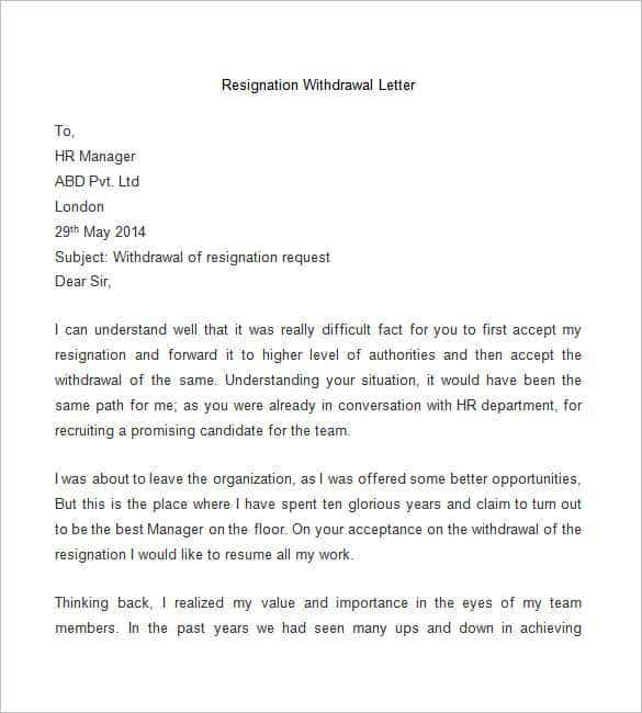 sample resignation withdrawal letter free download - Resignation Letter Templates Free