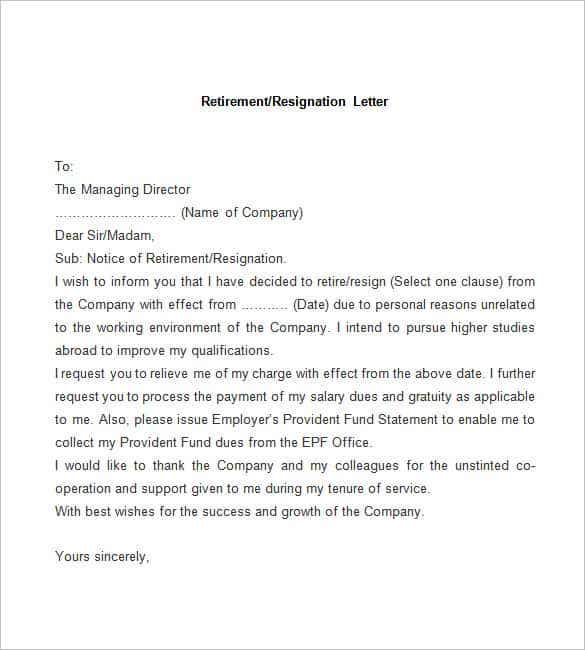 Resignation Letter Template 38 Free Word PDF Documents Download – Sample Format of Resignation Letter
