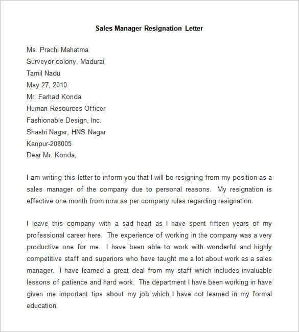 resignation letter to company