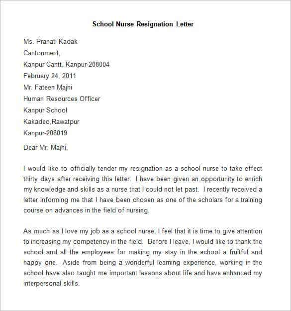 Sample School Nurse Resignation Letter