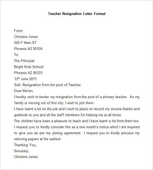 sample teacher resignation letter format - Resignation Format