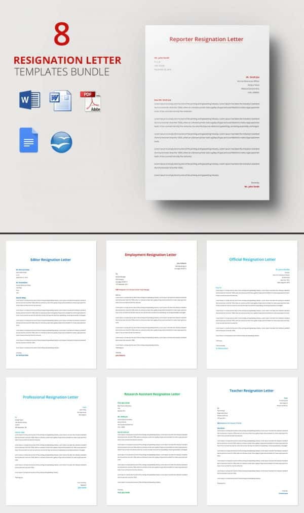8 resignation letter template bundle