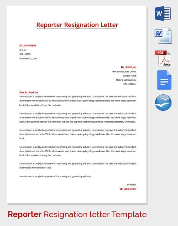 Resignation Letter Template 38 Free Word PDF Documents Download – Resignation Letter