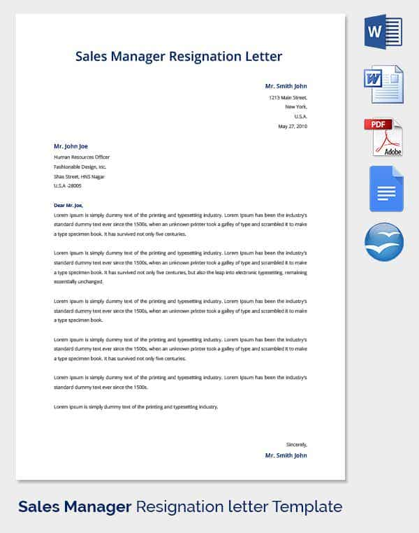 resignation letter template 38 free word pdf documents