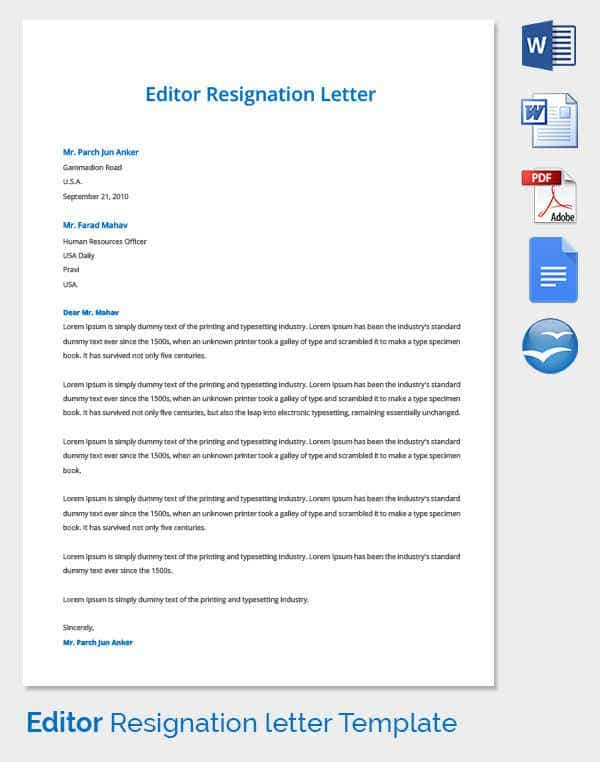 Resignation Letter Template 38 Free Word PDF Documents Download – Sample Resignation Letter Template