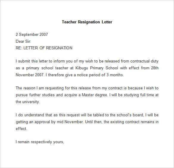 sample teacher resignation letter details file format
